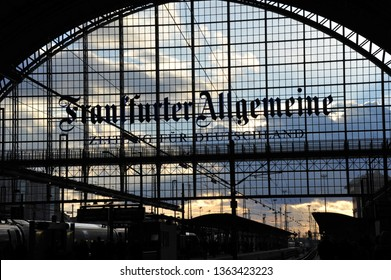 Frankfurt, Hesse / Germany - February 7, 2012: Advertising for Frankfurter Allgemeine Zeitung in the Frankfurt main station, Germany - FAZ is a national centre-right wing German daily newspaper
