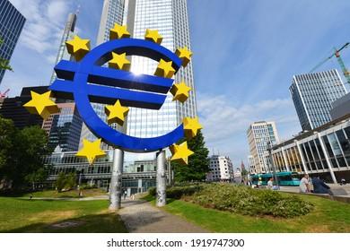 Frankfurt, Hesse, Germany - May 15, 2018: The Euro sculpture by Ottmar Hörl in Frankfurt am Main, Germany