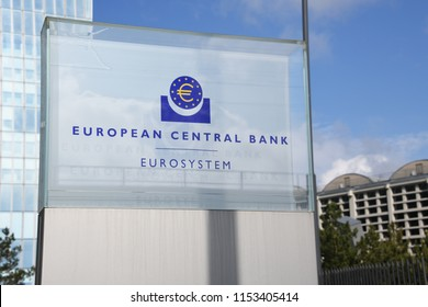 Frankfurt, Hesse / Germany - May 16, 2018: Sign at the entrance of new European Central Bank headquarters in Frankfurt, Germany - the ECB is the central bank for the euro