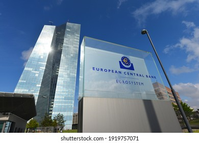 Frankfurt, Hesse, Germany - May 16, 2018: Sign at the entrance to new European Central Bank headquarters in Frankfurt, Germany - the ECB is the central bank for the euro