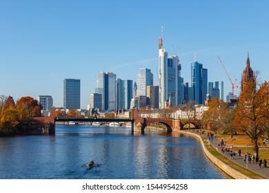 Frankfurt, Hesse, Germany - November 18, 2018: View from the Ignatz-Bubis-Brücke.