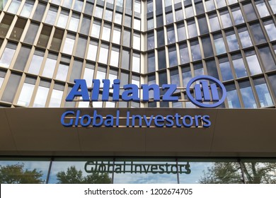 frankfurt, hesse/germany - 11 10 18: an allianz global investors sign on an building in frankfurt germany