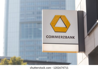 frankfurt, hesse/germany - 11 10 18: commerzbank bank sign on an building in frankfurt germany