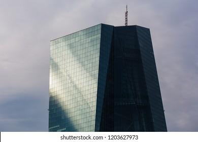frankfurt, hesse/germany - 11 10 18: european central bank building in frankfurt germany