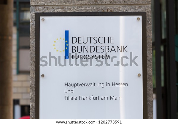frankfurt, hesse/germany - 11 10 18: deutsche bundesbank building sign in frankfurt germany