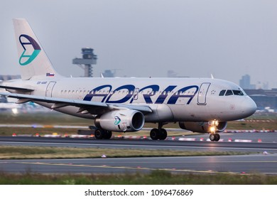 frankfurt, hesse/germany - 18 05 18: adria airlines plane at frankfurt airport germany
