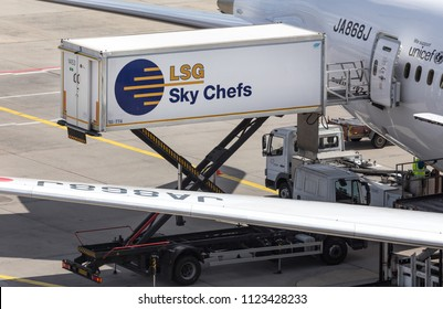frankfurt, hesse/germany - 25 06 18: lsg sky chefs container car at frankfurt airport germany