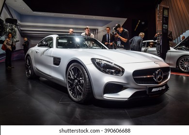 FRANKFURT - JANUARY 10, 2016: Mercedes-AMG GT S is on display in a dealer showroom.  Mercedes-AMG GT S is powered by an all-new handcrafted 503-hp 4.0-liter V8, accelerates 0-100 km/h in 3.7 seconds.
