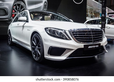 FRANKFURT - JANUARY 10, 2016: Mercedes-Benz AMG S63 is on display in a dealer showroom.  Mercedes-AMG S 63 combines outstanding driving dynamics and the power (585 hp) that defines AMG.