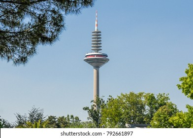 FRANKFURT - JULY 10: Europe Tower skyscraper in the city of Frankfurt. The tower is Germany's second tallest structure, after the Fernsehturm Berlin. July 10, 2015 in Frankfurt, Hesse, Germany