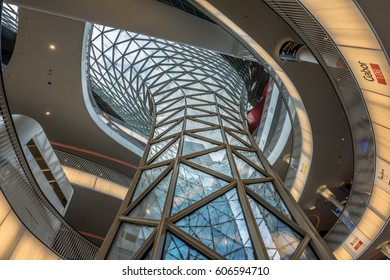 Frankfurt - July 26, 2016. Ground level view inside Myzeil shopping mall. Futuristic architecture Myzeil shopping center building was designed by Massimiliano Fuksas.