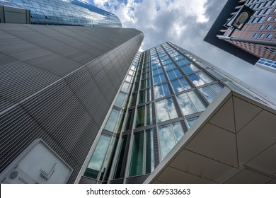 Frankfurt - July 26, 2016. Street level view of Main Tower and Garden Tower Located at neue mainzer street in the banking district (Bankenviertel)