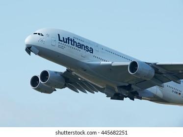 FRANKFURT AM MAIN AIRPORT - JUNE 20, 2016: Lufthanse Airbus A380 passenger plane is taking off.