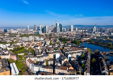 FRANKFURT am MAIN , APRIL 20, 2020,  Aerial view of Frankfurt,  with skyscrapers like Commerzbank and  river Main, Hesse, Germany