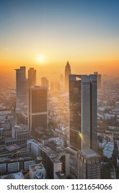Frankfurt am Main - Beautiful sunset aerilal view of the financial district