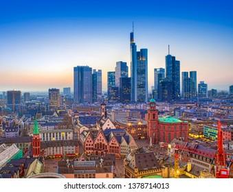 Frankfurt am Main city at night