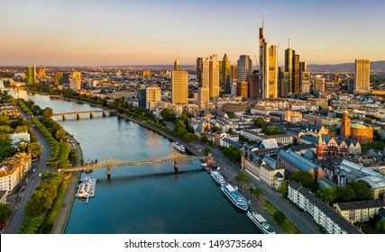Frankfurt am Main. Cityscape image of Frankfurt am Main during sunrise. Serial view