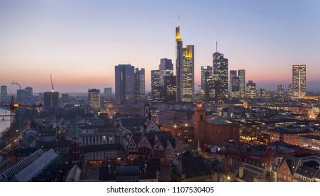 Frankfurt am Main cityscape at night