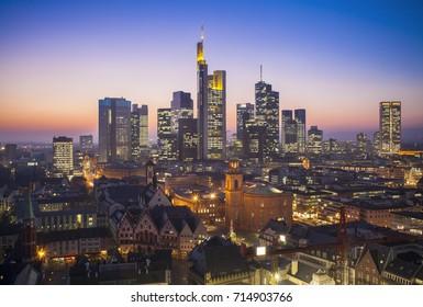 Frankfurt am Main cityscape at night, aerial view