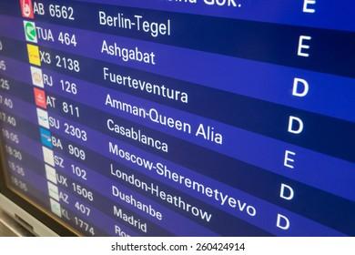FRANKFURT MAIN - DEC 6: Departure board with destination airports in Frankfurt Main. December 6, 2014 in Frankfurt Main, Germany