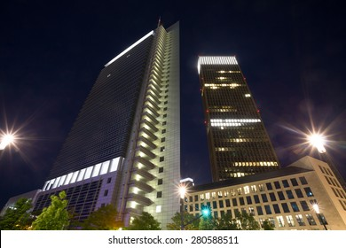 frankfurt am main fair district at night