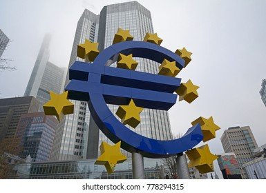 Frankfurt am Main, Germany - 02 December 2017 : The Euro monument with its yellow stars stands for the European currency