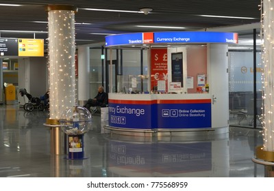 FRANKFURT AM MAIN, GERMANY - 04 DECEMBER 2017 : Currency exchange point at the airport