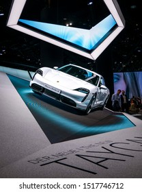 Frankfurt am Main, Germany - 09 19 2019: Porsche Taycan all electric vehicle at the IAA 2019. Frankfurt motorshow.
