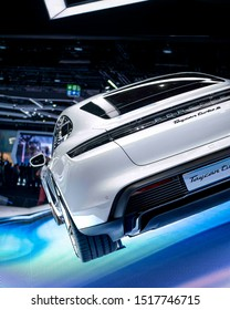 Frankfurt am Main, Germany - 09 19 2019: Rear of the all new Porsche Taycan. All electric vehicle presented at the IAA 2019.