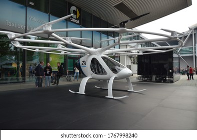 Frankfurt am Main, Germany - 09.24.2017: Volocopter - an electric multirotor helicopter from a german company e-volo