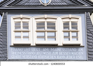 Frankfurt am Main, Germany - 11.11.2018: New old town of Frankfurt am Main with the rebuilt, historic house to the lichen