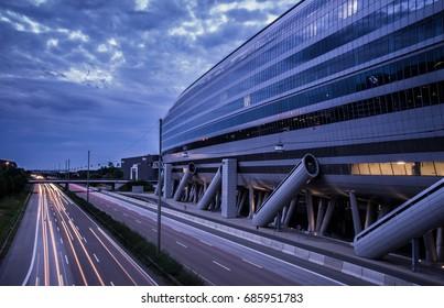 Frankfurt am Main, Germany - 29 July 2017 : Landmark of airport city Frankfurt, Frankfurt airport long distance train station.