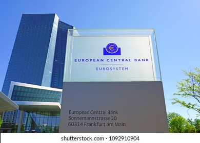 FRANKFURT AM MAIN, GERMANY -9 MAY 2018- View of the new headquarters building of the European Central Bank located in Ostend, Frankfurt.