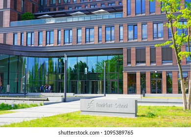 FRANKFURT AM MAIN, GERMANY -9 MAY 2018- View of the Frankfurt School of Finance & Management, a private business school founded 1957 as Bankakademie (Bank Academy).