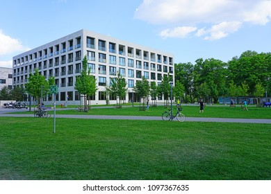 FRANKFURT AM MAIN, GERMANY -9 MAY 2018- View of the campus of the Goethe University Frankfurt (Johann Wolfgang Goethe-Universität Frankfurt am Main), a major German research university.