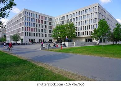 FRANKFURT AM MAIN, GERMANY -9 MAY 2018- View of the campus of the Goethe University Frankfurt (Johann Wolfgang Goethe-Universität Frankfurt am Main), a major German research university.