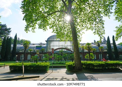 FRANKFURT AM MAIN, GERMANY -9 MAY 2018- View of the Palmengarten, a  landmark botanical garden located next to the campus of the Goethe University Frankfurt.
