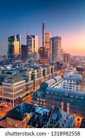 Frankfurt am Main, Germany. Aerial cityscape image of Frankfurt am Main skyline during beautiful sunrise.