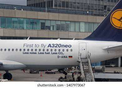 """Frankfurt am Main, Germany - April 28, 2019: Lufthansa Airbus A320neo with Lettering """"A320neo, Less noise, Less fuel, less CO2""""."""