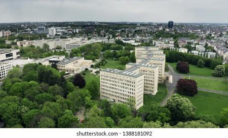 FRANKFURT AM MAIN, GERMANY - APRIL 29, 2019. Aerial view of the Goethe University Frankfurt buildings