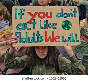 """Frankfurt am Main, Germany - April 5, 2019: """"Fridays for Future"""" protest in Frankfurt. Participants protesting against climate policy."""