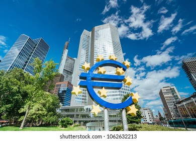 FRANKFURT AM MAIN, GERMANY - August 03, 2017: Euro sign in Frankfurt am Main, Germany. Frankfurt is the largest city in the German state of Hesse.