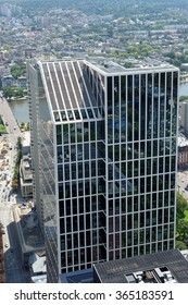 FRANKFURT AM MAIN, GERMANY - AUGUST 6, 2015: Aerial view of the Taunus tower from the observatory deck of the Mian tower. Frankfurt is the largest financial centre in continental Europe.