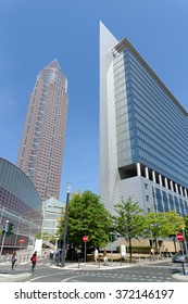 FRANKFURT AM MAIN, GERMANY - AUGUST 7, 2015: The Trade Fair Tower Messeturm and the Kastor Tower next to Frankfurt Trade Fair Grounds. Messeturm is the second tallest building in the city.