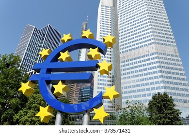 FRANKFURT AM MAIN, GERMANY - AUGUST 7, 2015: Euro Sign. European Central Bank (ECB) is the central bank for the euro and administers the monetary policy of the Eurozone.