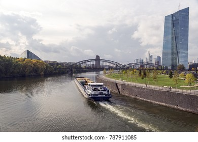 FRANKFURT AM MAIN, GERMANY - CIRCA, 2017: European Central Bank and skyline in the afternoon light, Frankfurt am Main, Hesse, Germany, Europe