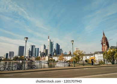 Frankfurt am Main, Germany. Cityscape panorama with river and skyscrapers.
