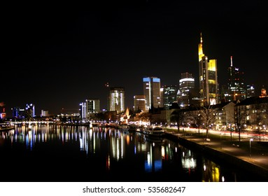 FRANKFURT AM MAIN, GERMANY, DECEMBER The 4th 2016: Banking district in Frankfurt am Main by night, Germany, Europe.