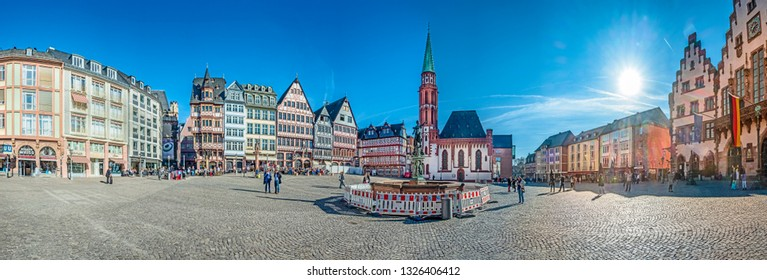 FRANKFURT AM MAIN, GERMANY - FEB 26, 2019: Romerberg (Romerplatz) with old Half-timbered houses. Romerberg is the central square of the Frankfurt Altstadt.