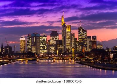 FRANKFURT AM MAIN, GERMANY - FEBRUARY 5 2015: cityscape of Frankfurt at sunset, Germany